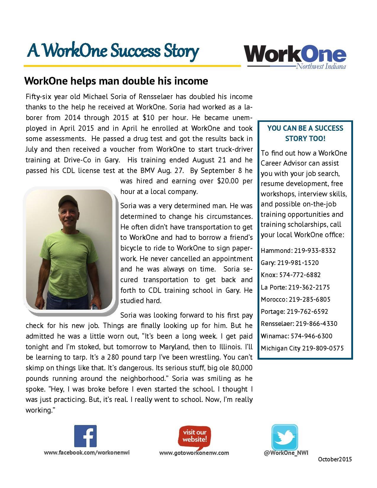 workone workone helps man double his income