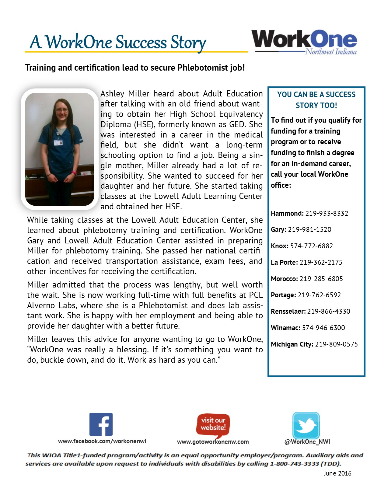 workone training and certification lead to phlebotomist job ashley miller
