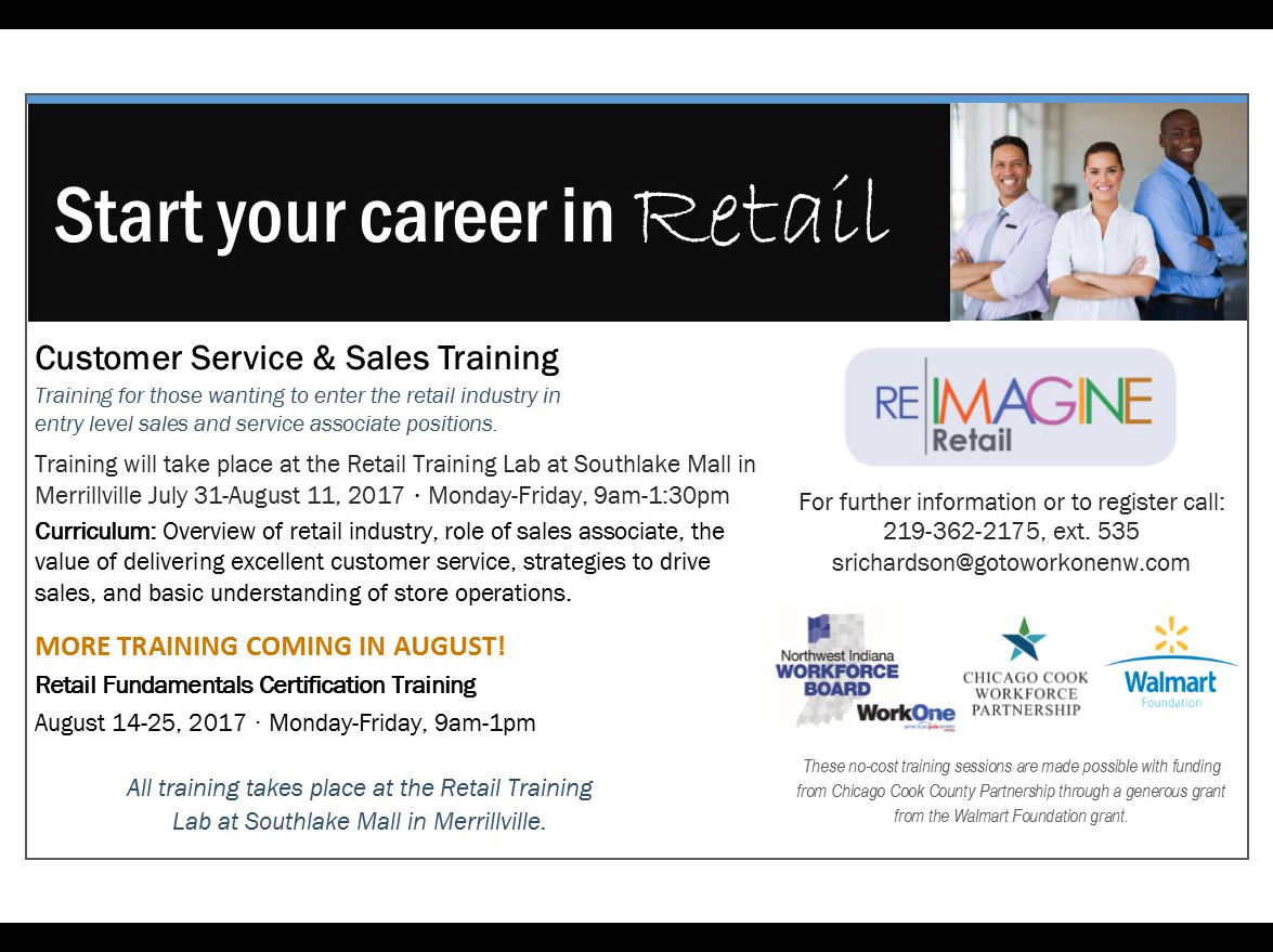 Retail training at the Retail Training Lab at Southlake Mall. Call to register today!