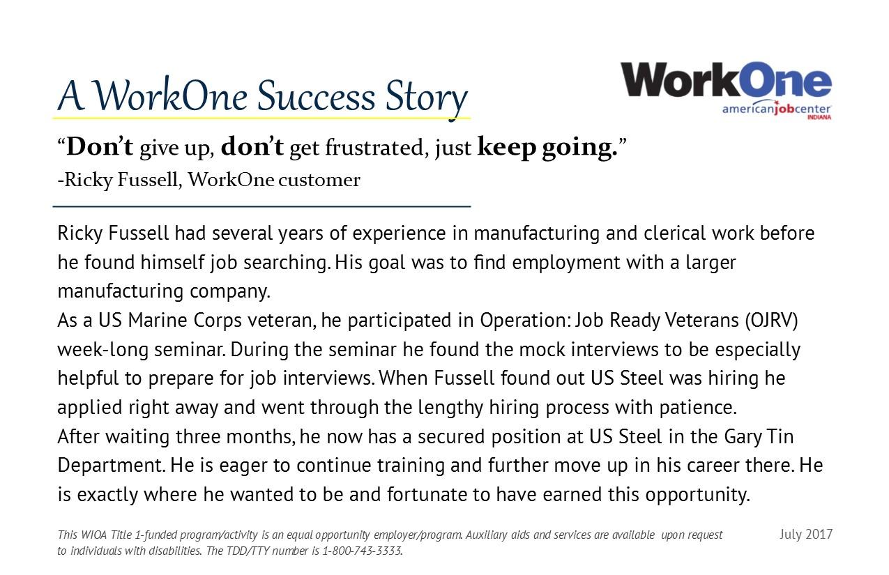 A WorkOne Success Story: