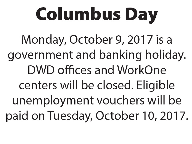 WorkOne offices closed Monday, October 9, 2017 in observance of Columbus Day